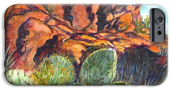 Red Rock Drawings iPhone Cases - Arizona Desert iPhone Case by Carol Wisniewski