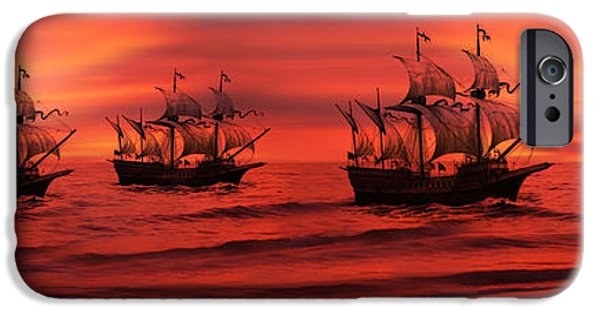 Tall Ship Digital Art iPhone Cases - Armada iPhone Case by Lourry Legarde