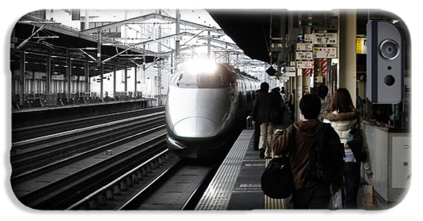 Train iPhone Cases - Arriving Train iPhone Case by Naxart Studio