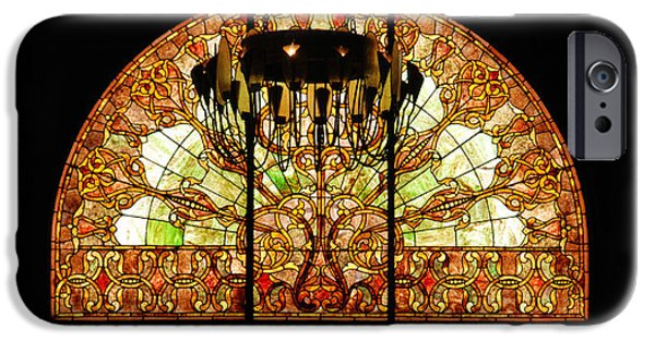 Nashville Architecture iPhone Cases - Artful Stained Glass Window Union Station Hotel Nashville iPhone Case by Susanne Van Hulst