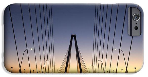 Arthur iPhone Cases - Arthur Ravenel Jr Bridge Sunrise iPhone Case by Dustin K Ryan