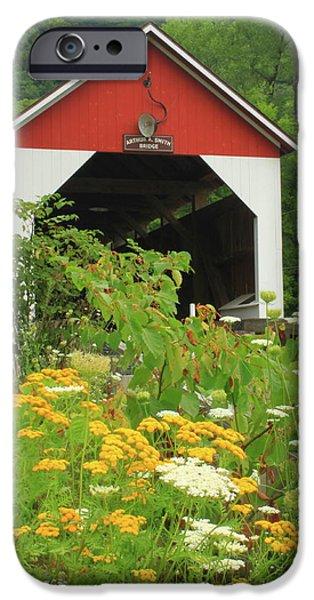 Covered Bridge iPhone Cases - Arthur Smith Covered Bridge Colrain MA iPhone Case by John Burk