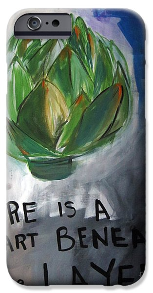 Blue-gray iPhone Cases - Artichoke iPhone Case by Linda Woods
