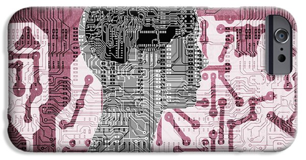 Circuit iPhone Cases - Artificial Intelligence iPhone Case by Mehau Kulyk