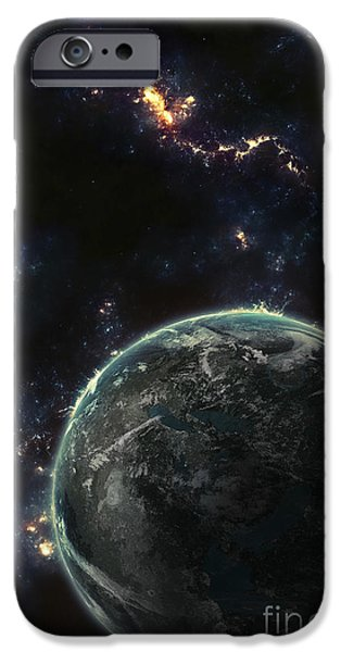 Terrestrial Sphere iPhone Cases - Artists Concept Of A Terrestrial Planet iPhone Case by Tomasz Dabrowski
