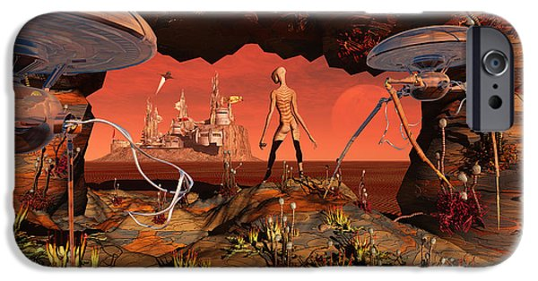 Built Structure Digital Art iPhone Cases - Artists Concept Of Life On Mars iPhone Case by Mark Stevenson