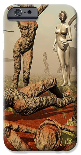 Artists Concept Of Mutated Dinosaurs iPhone Case by Mark Stevenson