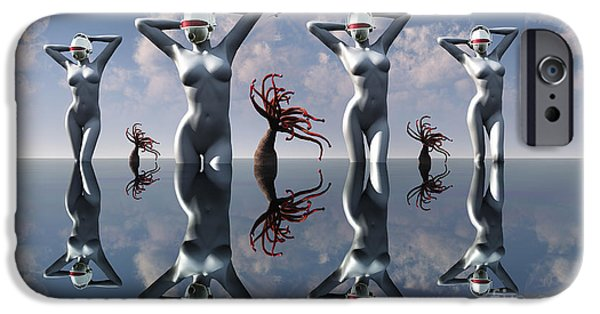 Cyberspace iPhone Cases - Artists Concept Of Pleasure Droids iPhone Case by Mark Stevenson