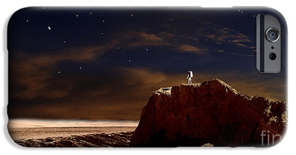 Concept iPhone Cases - Artists Depiction Of A Lone Astronaut iPhone Case by Frank Hettick