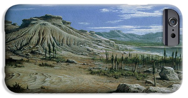Triassic iPhone Cases - Artists Impression Of Triassic Period Landscape. iPhone Case by Ludek Pesek