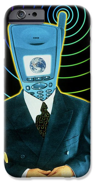 Art Mobile iPhone Cases - Artwork Of A Businessman With A Mobile Phone Head iPhone Case by Victor Habbick Visions