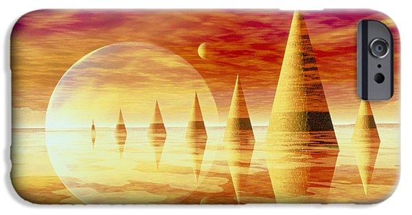 Geometric Artwork iPhone Cases - Artwork Of An Alien Landscape iPhone Case by Mehau Kulyk