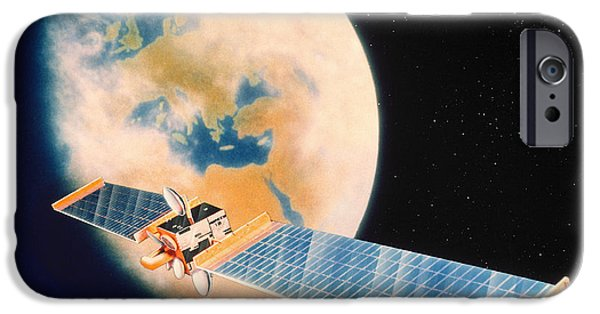 Olympus iPhone Cases - Artwork Of An Olympus Communications Satellite iPhone Case by Julian Baum