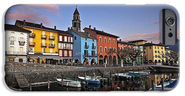 Ascona iPhone Cases - Ascona am Abend iPhone Case by Joana Kruse