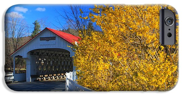 Covered Bridge iPhone Cases - Ashuelot Covered Bridge and Forsythia iPhone Case by John Burk
