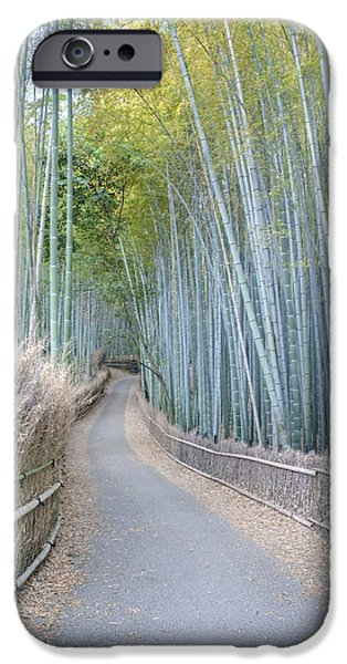 Bamboo Fence iPhone Cases - Asia Japan Kyoto Arashiyama Sagano iPhone Case by Rob Tilley