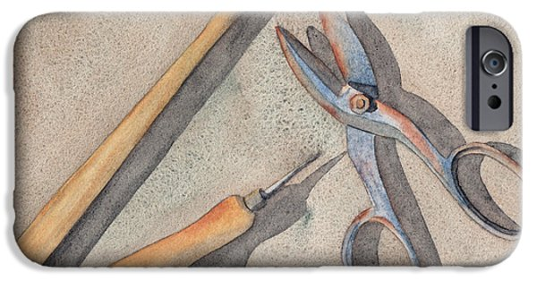 Hammer Paintings iPhone Cases - Assorted Tools iPhone Case by Ken Powers