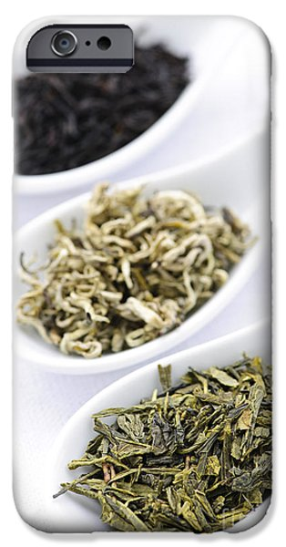Dried iPhone Cases - Assortment of dry tea leaves in spoons iPhone Case by Elena Elisseeva