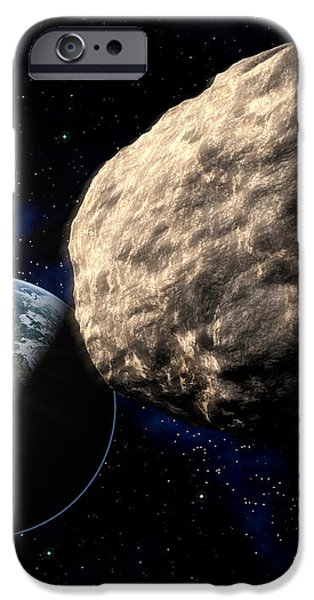 Asteroid Approaching Earth iPhone Case by Roger Harris