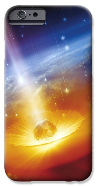 Asteroid Impacting The Earth, Artwork iPhone Case by Detlev Van Ravenswaay