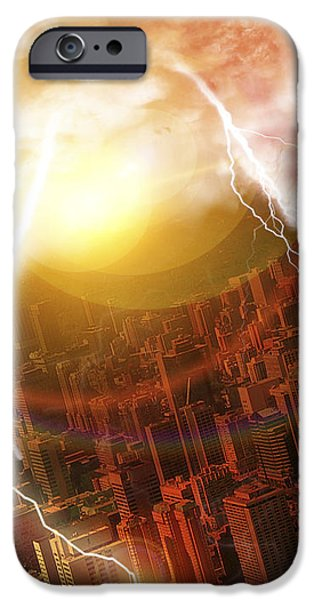 Asteroid Striking Earth iPhone Case by Victor Habbick Visions