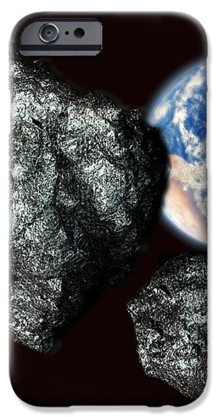 Asteroids Approaching Earth iPhone Case by Victor Habbick Visions