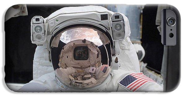 Cabin Window iPhone Cases - Astronaut Peers Into The Crew Cabin iPhone Case by Stocktrek Images