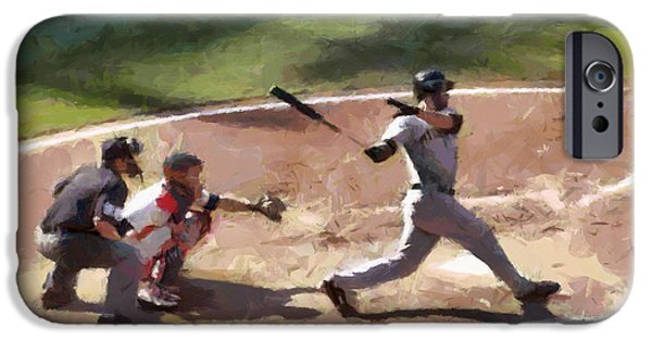 Baseball Uniform Paintings iPhone Cases - At Bat iPhone Case by Lynne Jenkins