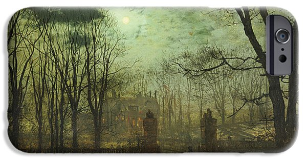 Creepy Paintings iPhone Cases - At the Park Gate iPhone Case by John Atkinson Grimshaw
