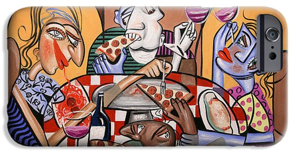 Cubist iPhone Cases - At The Pizzeria iPhone Case by Anthony Falbo