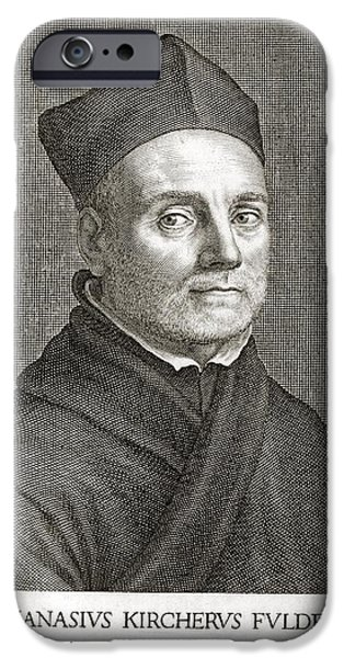 Caption iPhone Cases - Athanasius Kircher, German Scholar iPhone Case by Library For The Performing Artsnew York Public Library