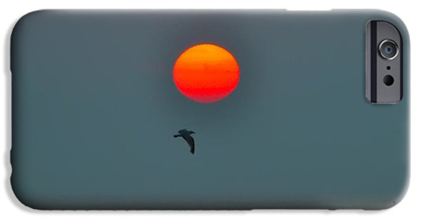 Flying Seagull Digital Art iPhone Cases - Atlantic City Sunrise iPhone Case by Bill Cannon