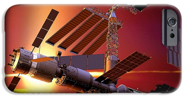 2000s iPhone Cases - Atv Docked To The Iss, Artwork iPhone Case by David Ducros