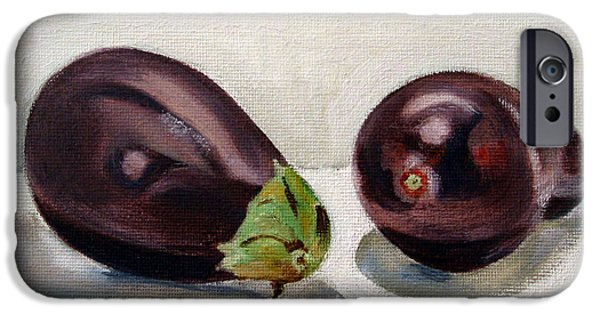 Food iPhone Cases - Aubergines iPhone Case by Sarah Lynch