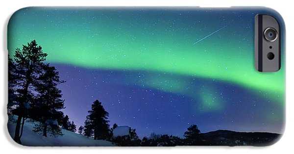 Landscape In Norway iPhone Cases - Aurora Borealis And A Shooting Star iPhone Case by Arild Heitmann