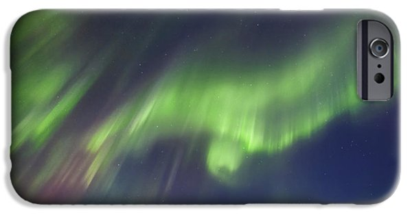 Landscape In Norway iPhone Cases - Aurora Borealis Over Blafjellet iPhone Case by Arild Heitmann