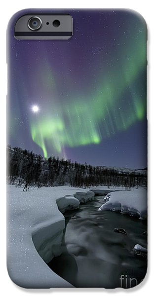 Landscape In Norway iPhone Cases - Aurora Borealis Over The Blafjellelva iPhone Case by Arild Heitmann