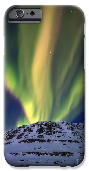 Landscape In Norway iPhone Cases - Aurora Borealis Over Toviktinden iPhone Case by Arild Heitmann
