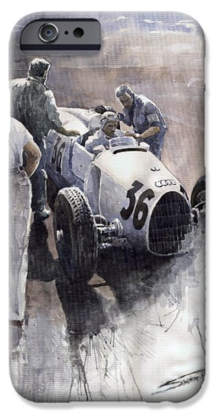 Sports Paintings iPhone Cases - Auto Union B type 1935 Italian GP Monza B Rosermeyer iPhone Case by Yuriy  Shevchuk