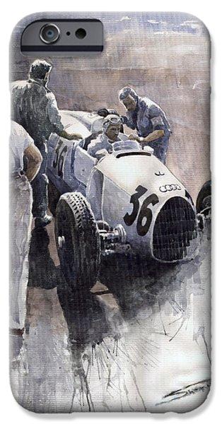 Auto Union B type 1935 Italian GP Monza B Rosermeyer iPhone Case by Yuriy  Shevchuk