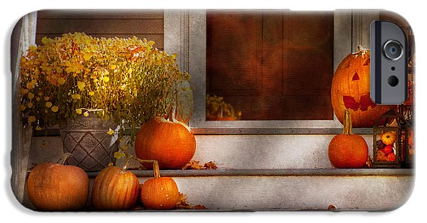 Autumn Scenes iPhone Cases - Autumn - Halloween - Were all happy to see you iPhone Case by Mike Savad