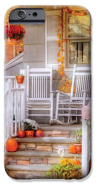 Autumn - House - My Aunts porch iPhone Case by Mike Savad