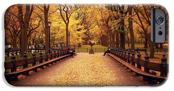 Autumn Foliage Photographs iPhone Cases - Autumn - Central Park - New York City iPhone Case by Vivienne Gucwa