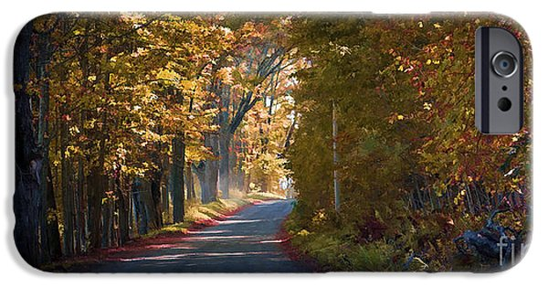 Autumn iPhone Cases - Autumn Country Road - oil iPhone Case by Edward Fielding