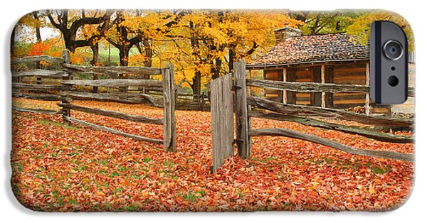 Cabin Window iPhone Cases - Autumn iPhone Case by Darren Fisher