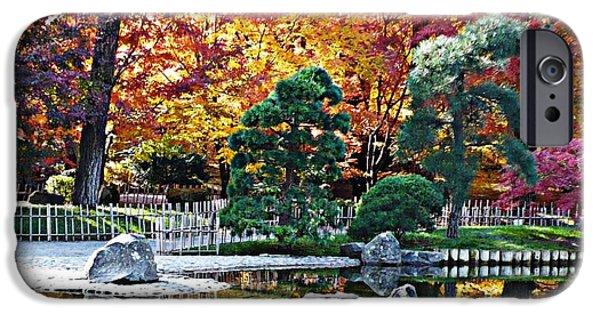Bamboo Fence iPhone Cases - Autumn Glow in Manito Park iPhone Case by Carol Groenen