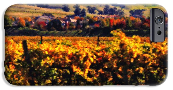 California Vineyard iPhone Cases - Autumn in the Valley 2 - Digital Painting iPhone Case by Carol Groenen