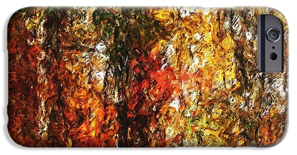 Photo Manipulation Digital Art iPhone Cases - Autumn in the Woods iPhone Case by David Lane