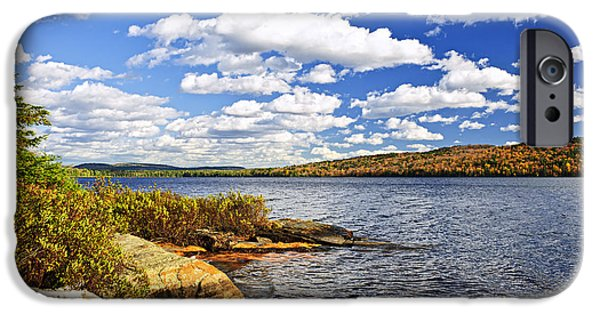 River View iPhone Cases - Autumn lake shore iPhone Case by Elena Elisseeva