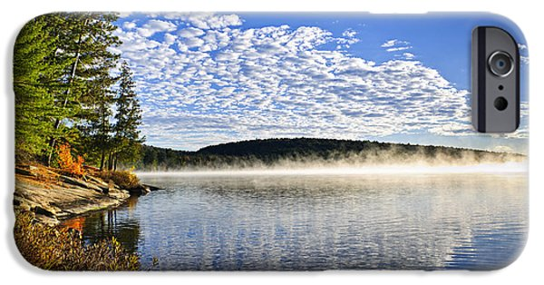 Mist iPhone Cases - Autumn lake shore with fog iPhone Case by Elena Elisseeva